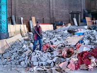 Taylor on rubble.  Click for a larger picture.